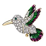 EVER FAITH Austrian Crystal Green w/ Purple Enamel Flying Little Hummingbird Brooch Pin Clear Gold-Tone