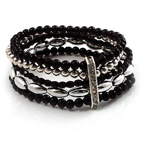 (Avalaya 5-Strand Beaded Acrylic Flex Bracelet (Black&Silver))