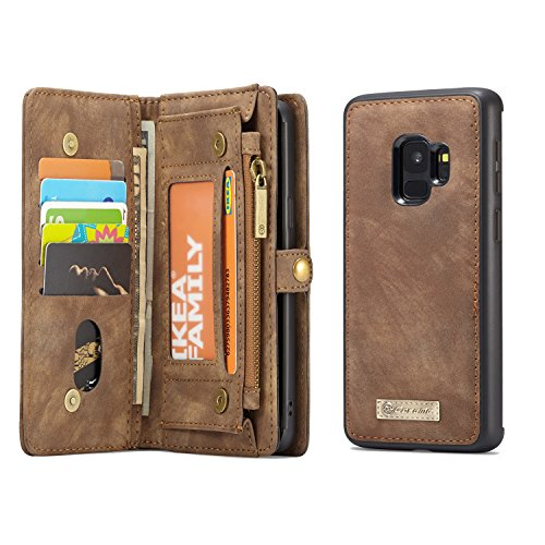 Samsung Galaxy S9 Wallet, ICE FROG Detachable Magnetic Handmade Cowhide PU Leather Credit Card Slots Purse Pouch Flip Shell Removable Back Phone Case Cover