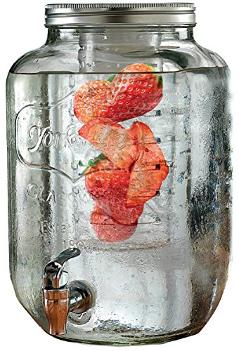 Circleware Yorkshire Glass Beverage Drink Dispenser with Fruit Infuser and Metal Lid, 2 Gallon Capacity