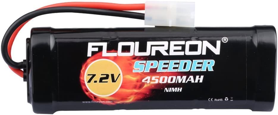 FLOUREON 7.2V 4500mAh NiMH 6 Cell Rechargeable RC Battery Pack with Female-Tamiya Plug for Popular Standard RC Cars including Traxxas LOSI Associated HPI Tamiya Kyosho