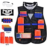 Kids Tactical Vest Kit for Nerf Guns N-Strike Elite Series, with 40 Pcs Refill Darts, 3 Reload Clips, Face Tube Mask and Protective Glasses