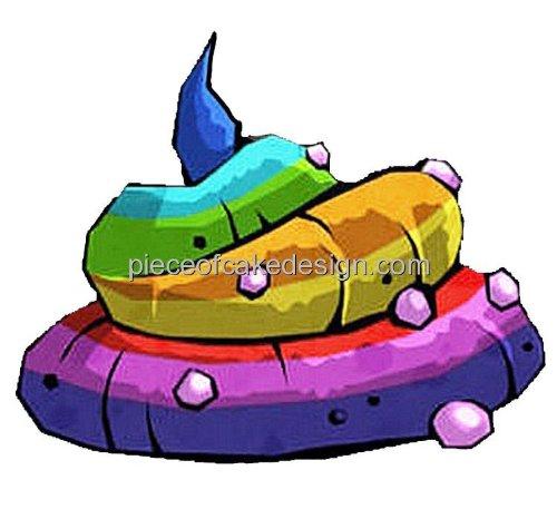 "3"" ~ Rainbow Unicorn Poop Birthday ~ Edible Image Cake/Cupcake Topper!!!"