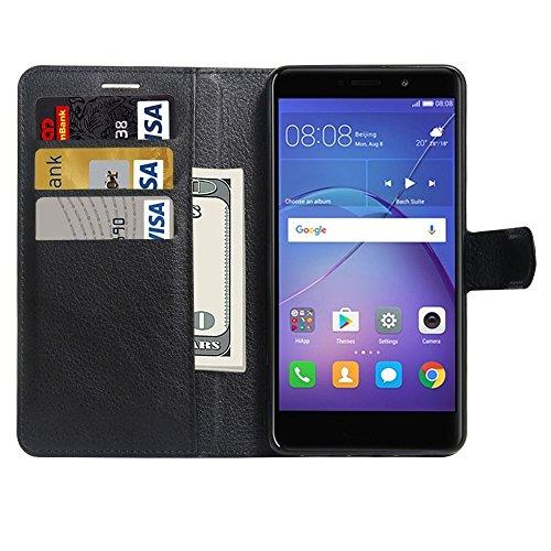 Mobile Phone Cases&decorate Huawei Mate 9 Lite Litchi textura Horizontal Flip caja de cuero con el titular y ranuras para tarjetas y cartera ( Color : White ) Black