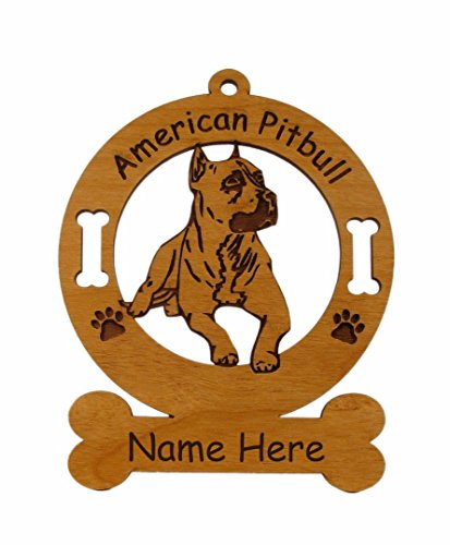 (1249 American Pitbull Laying Ornament Personalized with Your Dog's Name)
