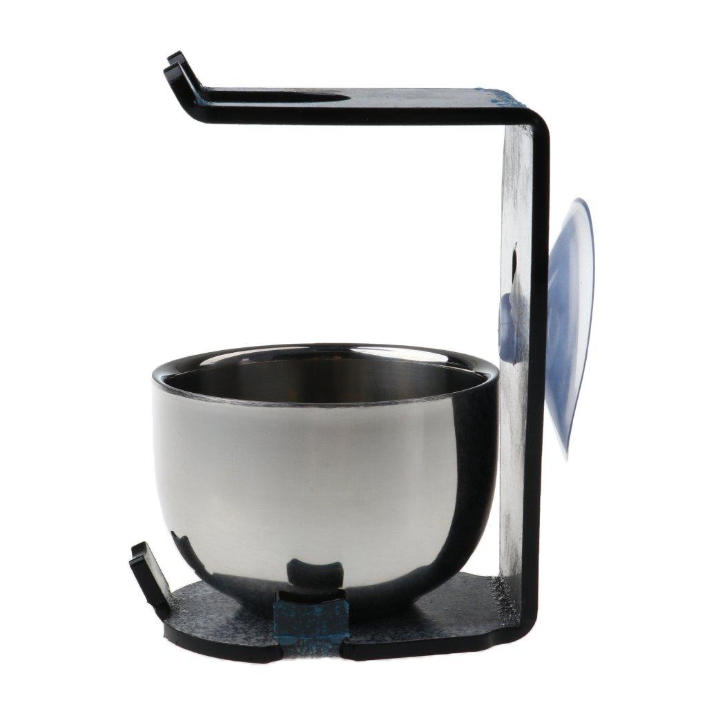 Homyl Shaving Brush Set Acrylic Black Shaver Stand Holder with Sucker + Stainless Steel Shaving Soap Bowl Cup Kit for Father Boyfriend