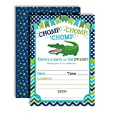 Alligator Turquoise & Green Chomp in The Swamp Birthday Party Invitations for Boys, 20 5''x7'' Fill in Cards with Twenty White Envelopes by AmandaCreation