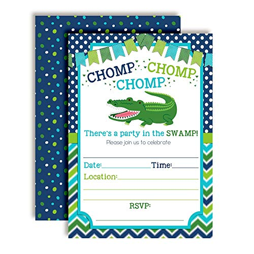 Alligator Turquoise & Green Chomp in The Swamp Birthday Party Invitations for Boys, 20 5