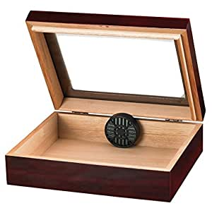 Traveler Glass Top Humidor Holds 20 Cigars, Cherry