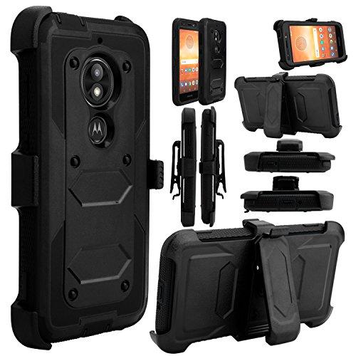 Moto E5 Play Case, Moto E5 Cruise Case, Heavy Duty Shockproof Full Body Protective Hybrid Rugged Holster Case with Kickstand and Swivel Belt Clip for Motorola Moto E5 Play (Black)