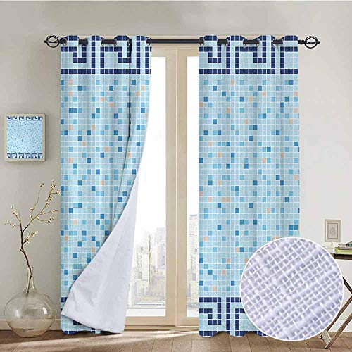 NUOMANAN Decor Curtains by Aqua,Antique Greek Border Mosaic Tile Squares Abstract Swimming Pool Design,Pale Blue Navy Blue Beige,Wide Blackout Curtains, Keep Warm Draperies,1 Pair 54