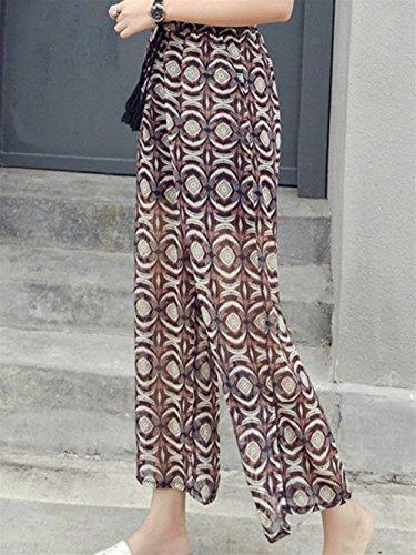 Tempo Lunga Pants Libero Vita Stampate Di Primaverile Accogliente Alta Mode Chiffon Elastica Estivi Marca Bendare Pantaloni Baggy Moda Donna Eleganti Larghi Floreale cFAqWwHY