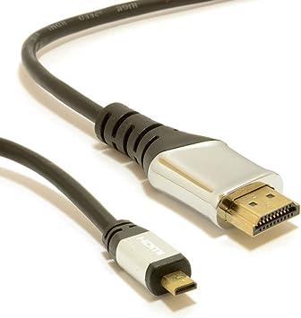 M-One Pro, Metal Termina 2 m (6ft) Micro HDMI a estándar HDMI Cable de vídeo para – HP SlateBook x2 Tablet – (ver películas, imágenes y juegos en tu TV, monitor, proyector):