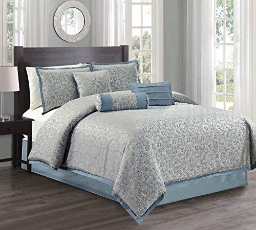 Athena Silk Pillow - Hillsbro 7 Piece Athena Blue Frost Pillow Sham Comforter Set Full Queen King (Queen)