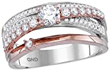 14k Two-tone Rose Gold Round Diamond Crossover Cockail Ring (3/4 Cttw)