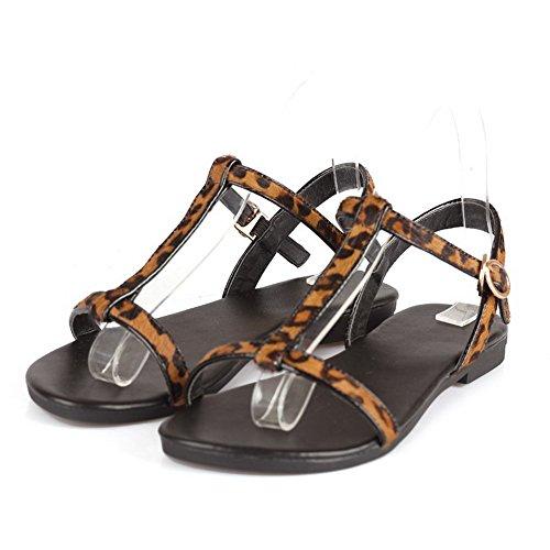 Suede heels AgooLar Open Color Buckle Imitated Toe DarkBrown Assorted Sandals Low Women's HBqOnExqR