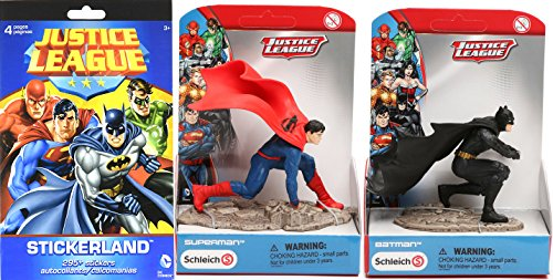 Joker Costume Walmart (Justice League Collection Schleich Scenery Batman & Superman Action Figure 2 Pack & DC Comics Stickerland Stickers 295+ character decals / collectible toy bundle set)
