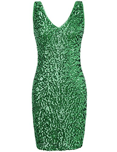 (PrettyGuide Women Sexy Deep V Neck Sequin Glitter Bodycon Stretchy Mini Party Dress S)