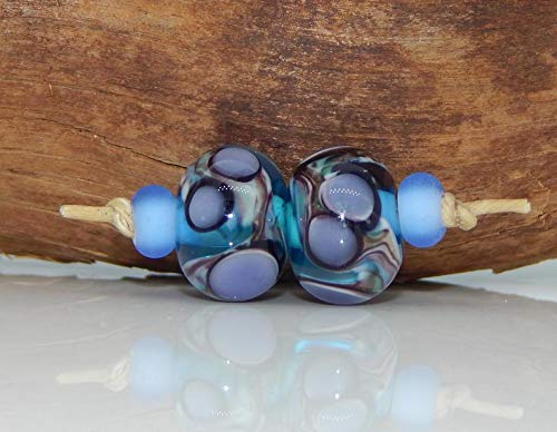 World's Natural Treasures - Lampwork Bead Set Absract Purple Periwinkle Black Teal Blue Artisan Handmade Earring Charm Beads Etched Spacers ()