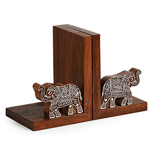 ExclusiveLane Hand Carved Book End in Sheesham Wood - Book Organizers Book Holder Book Ends for Shelves Decorative Bookends for Kids Handmade Bookend Heavy Book Ends for Office Book - Bookends Indian