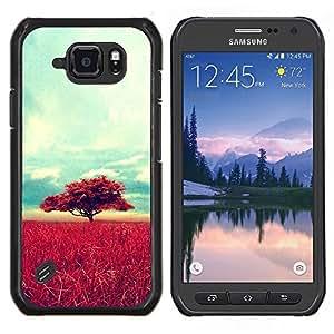 TECHCASE---Cubierta de la caja de protección para la piel dura ** Samsung Galaxy S6 Active G890A ** --África Savannah Naturaleza Árbol Campo