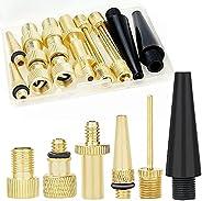 Hyacinth 16PCS Premium Brass Presta and Schrader Valve Adapter, Bike Tire Valve Adapters, Ball Pump Needle, Ad