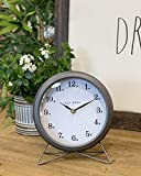 Rae Dunn Desk Clock - Battery Operated Modern Metal Rustic Design with for Bedroom, Office, Kitchen - Small Classic Analog Display - Chic Home Décor for Desktop Table, Countertop