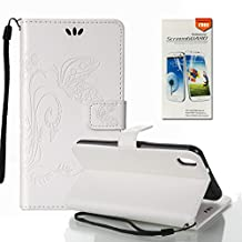 HTC Desire 816 Case, OuDu Embossing Pattern Case Printing Design Cover Stylish Flower&Butterfly Case for HTC Desire 816 PU Leather Case Flip Wallet Shell Stand Function Case with Card Slots - White (Gift:1 Screen Protector)
