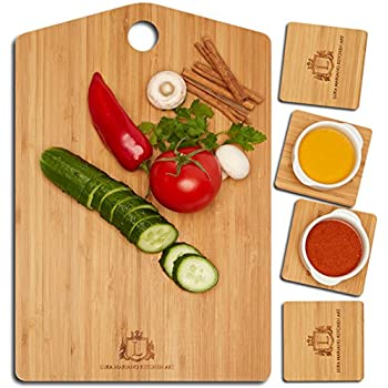 KITCHEN ART Bamboo Cutting Board   4 Coasters Included   Easy To Clean  Butcher Block