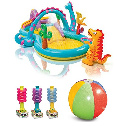 Dinoland Mini Waterpark Play Center By Intex, Little Tikes Super Spiral Ball Sprinkler & Splash/Spray Beach Ball, Kids Inflatable Pools, Outdoor Play, Kids Sports, Water Play Fun, Motor, Social Skills