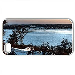 beautiful lake house in winter hdr - Case Cover for iPhone 4 and 4s (Lakes Series, Watercolor style, White)