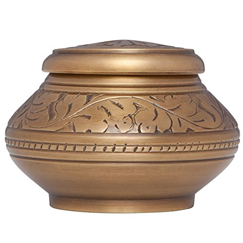 - Gold vine Mini Keepsake Urn • Miniature Funeral Cremation Urn fits Small Amount of Ashes • Vignette Model • 2 inches Tall