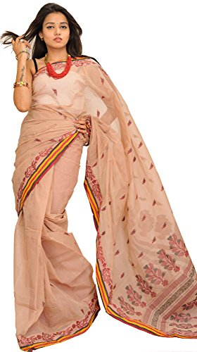 Exotic India Moonlight Purbasthali Tant Sari from Bengal with Woven Leav - Beige