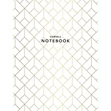 Cornell Notebook: Gold Geometric | 120 White Pages 8.5x11"