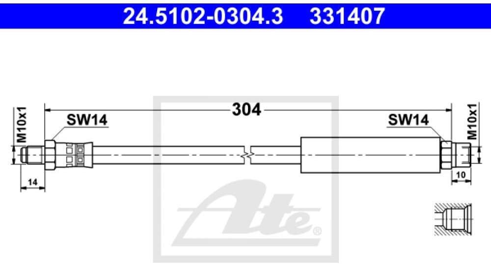 ATE 24.5102-0304.3 Durit et Accessoire de Frein
