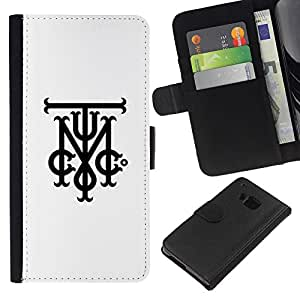 KingStore / Leather Etui en cuir / HTC One M7 / Tmi C Initiales Lettres Blanc Noir