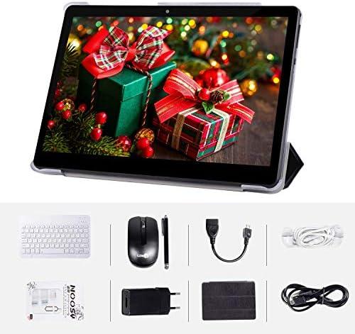 Tablet Android 7.0 Schermo da 10″ Processore quad-core RAM 2GB ROM 64GB Fotocamera WIFI GPS Due slot per schede SIM Tablet Cellulare con 3G sbloccato Con mouse, tastiera e custodia(Nero)