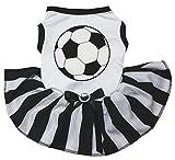 Petitebella Soccer White Shirt Black Striped Dress Puppy Dog Dress (Small)