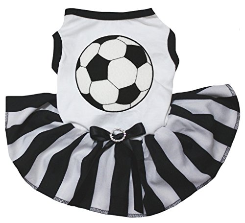 Petitebella Soccer White Shirt Black Striped Dress Puppy Dog Dress (X-Small) ()