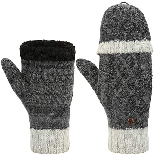 Vbiger Winter Gloves Warm Wool Mittens With Mitten Cover (H-Grey)