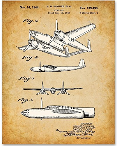 Howard Hughes Airplane - 11x14 Unframed Aviation Art Patent Print - Great Gift for Pilots (Twin Bomber Engine)