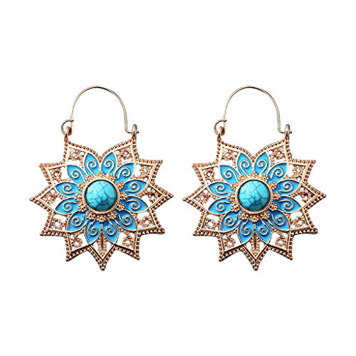 FengdouCZ Ladies Earrings Vintage Bohemian Openwork Round Flower Basket Earrings Fashion Earrings Simple Earrings for Women Girls Gift