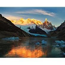 J.P. London MDXL1X995868 JPL and Yan Zhang Present Morning Light at Cerro Torre Patagonia Glacier Mountain Range Peel and Stick Fully Removable Wall Mural Extra Large, 12' Widex8.5' High