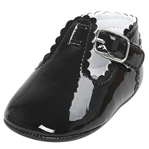 Fire Frog Baby Girls Mary Jane Burnish Pu Leather Bowknot Pincess Prewalker Christening Baptism Crib Shoes (12-18 Months, Black) by Fire Frog