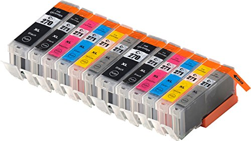Blake Printing Supply 12 Pack Ink Cartridges for 270XL 271XL PIXMA MG7720, MG6820, MG5720, TS9020, TS8020, TS6020, TS5020 2 Big Black, 2 Gray 2 Small Black, 2 Cyan, 2 Magenta, 2 Yellow