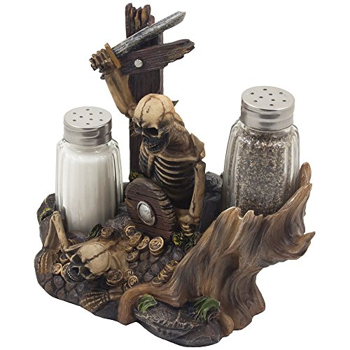low cost skeleton pirate guarding gold treasure salt and pepper shaker set and decorative figurine
