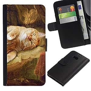 Rembrandt Danae Cat Art Painting Yellow - la tarjeta de Crédito Slots PU Funda de cuero Monedero caso cubierta de piel HTC One M8