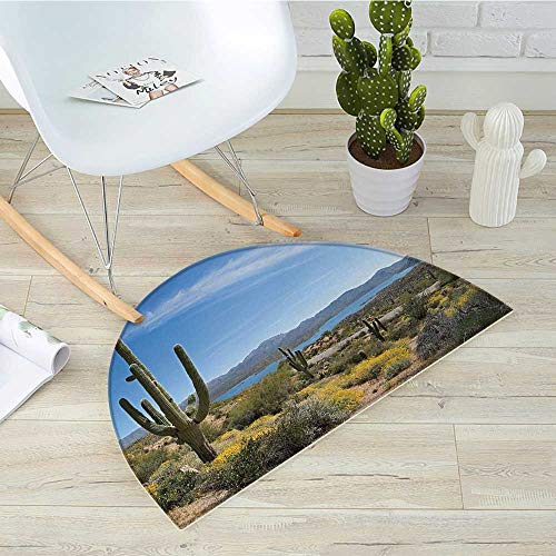 Saguaro Semicircular CushionBig Cactus on The Valley Over Bartlett Lake in Desert Shallow Root Nature Image Entry Door Mat H 51.1