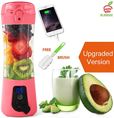 BLENDEE Portable Blender USB Juicer Cup, Personal Size Fruit Mixer Travel Bottle, Rechargeable Drink Mixing Machine for Fitness/Outdoors/Office, 380ML Juice Extractor with Digital Display by BLENDEE