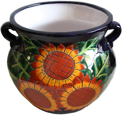 Talavera Ceramic Pot (Small Sunflower Talavera Ceramic Pot)